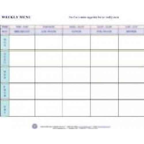 Weekly menu for Blank daycare menu template