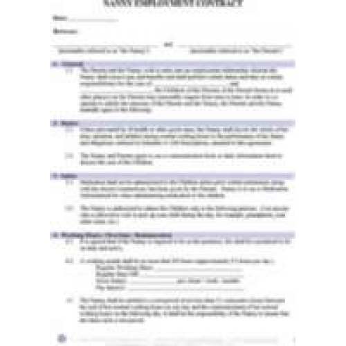 Nanny Contract After School Nanny Contract Nanny Contract Free Pdf
