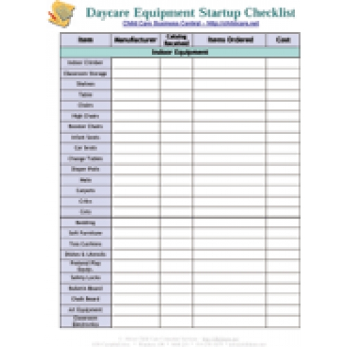 Startup Equipment Checklist  Download